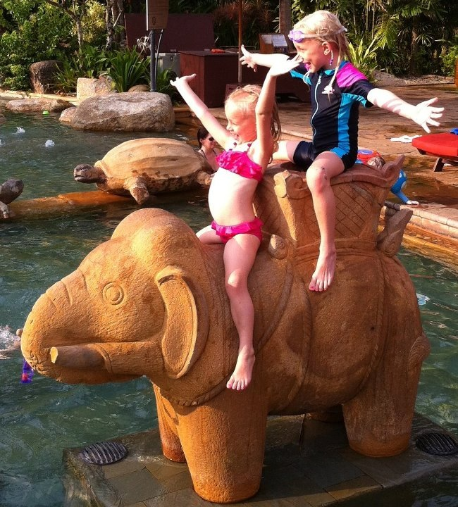 Isabel and Kate on the Elephant
